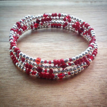 Beaded memory wire bracelet - silver beads, red beads and seed beads and swarovski crystal beads - eDgE dEsiGn London