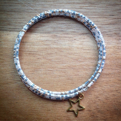 Beaded memory wire bracelet - white, gold and blue/grey seed beads and gold star pendant - eDgE dEsiGn London