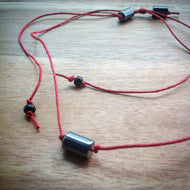 Red sliding knot cord choker necklace - black Onyx and grey Hematite tube beads - eDgE dEsiGn London