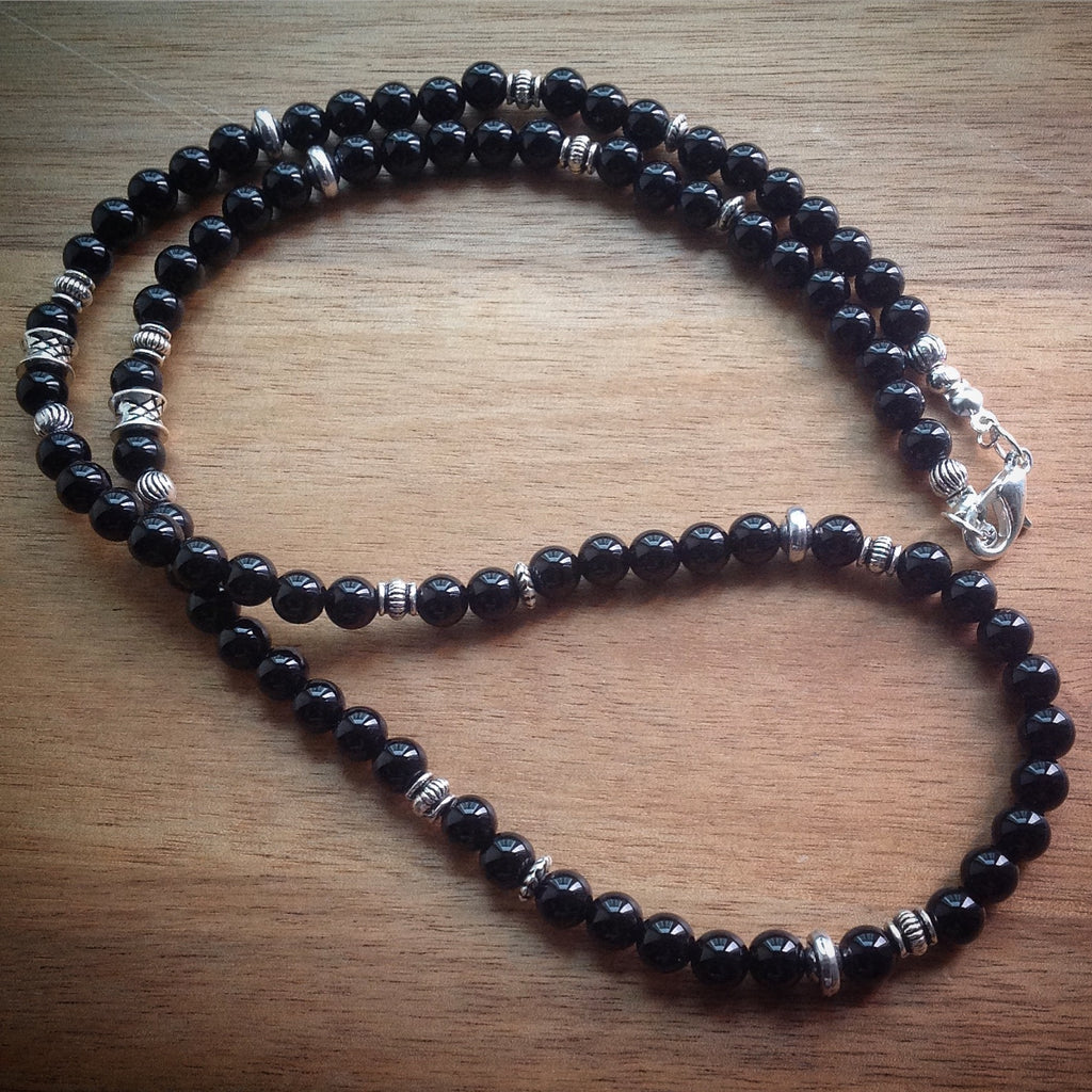 Beaded necklace with black Onyx beads and silver spacer beads - eDgE dEsiGn London - Unisex
