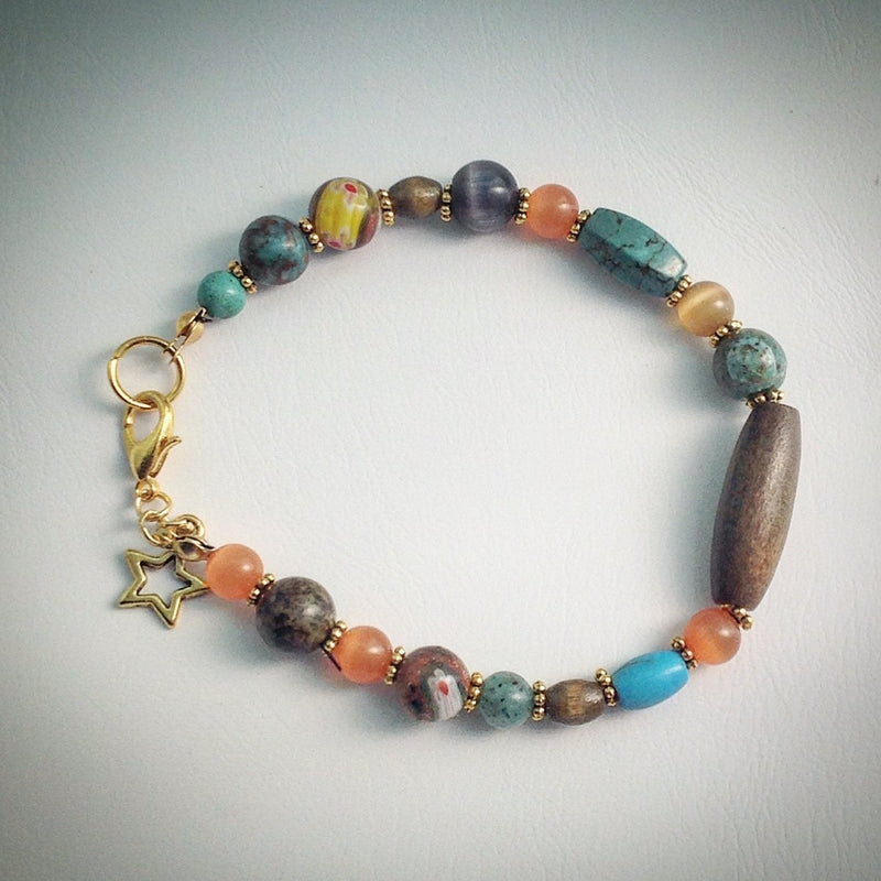 Beaded bracelet - Jade, Tigers Eye, Millefiori and Star - eDgE dEsiGn London