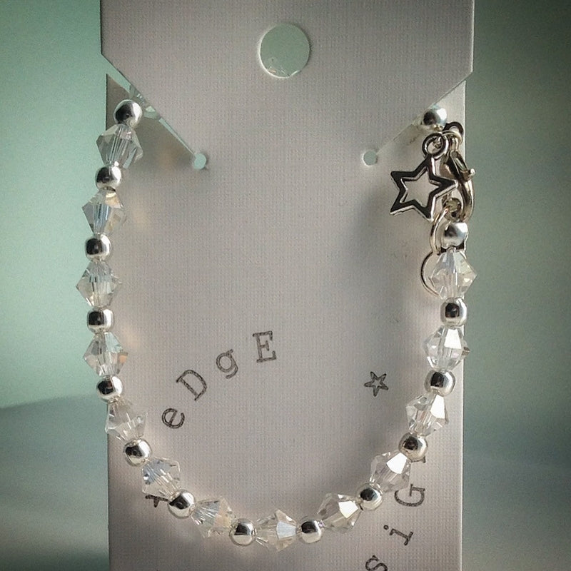 Silver and Sparkle Beaded Bracelet - Swarovski Crystal and Silver Beads - eDgE dEsiGn London