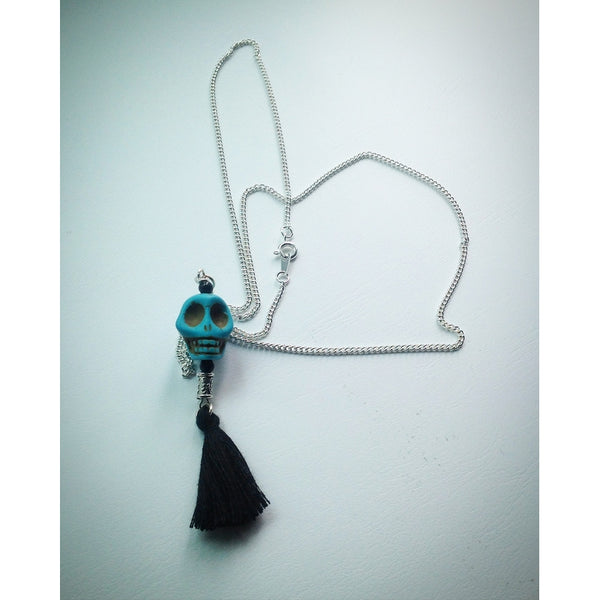 Silver plated chain with Turquoise Howlite Skull and Black Tassel Pendant - eDgE dEsiGn London