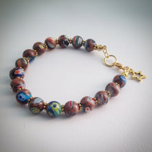 Beaded Bracelet - Millefiori beads and gold spacers and star - eDgE dEsiGn London