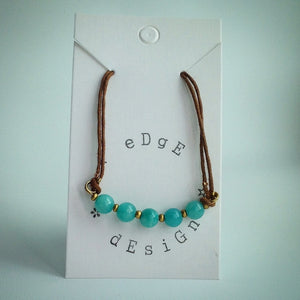 Brown cord bracelet - Jade beads and gold plated clasp fastening - eDgE dEsiGn London