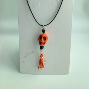 Orange Skull, Tassel and Jet Pendant on Cord Necklace - eDgE dEsiGn London