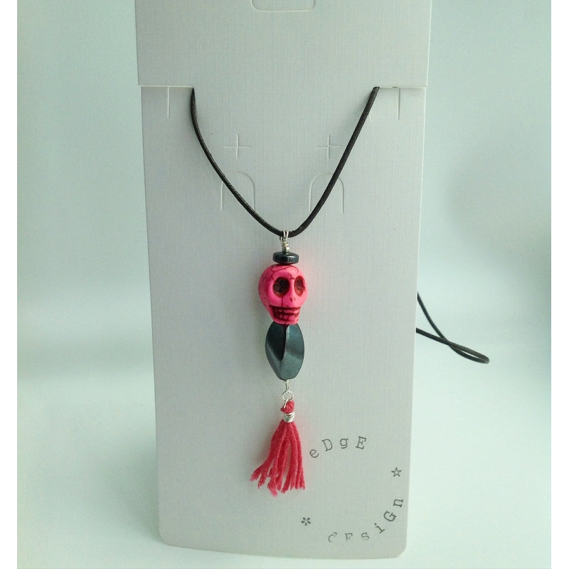 Coloured cord necklace with pendant - Pink Skull, Hematite and Tassel - eDgE dEsiGn London