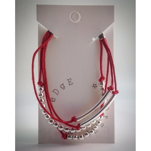 Red Coloured Four Cord Bracelet with Silver plated clasp - eDgE dEsiGn London