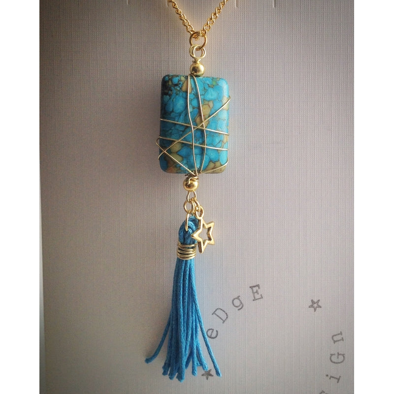 Gold plated chain with Turquoise Howlite Pendant and Tassel - eDgE dEsiGn London
