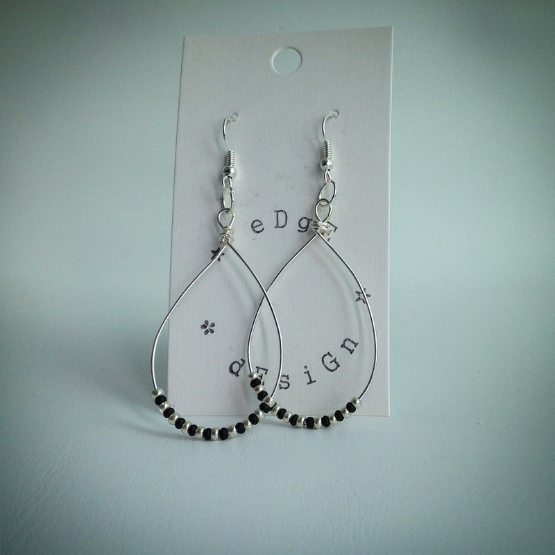 Silver long teardrop earrings with black and silver beads - eDgE dEsiGn London