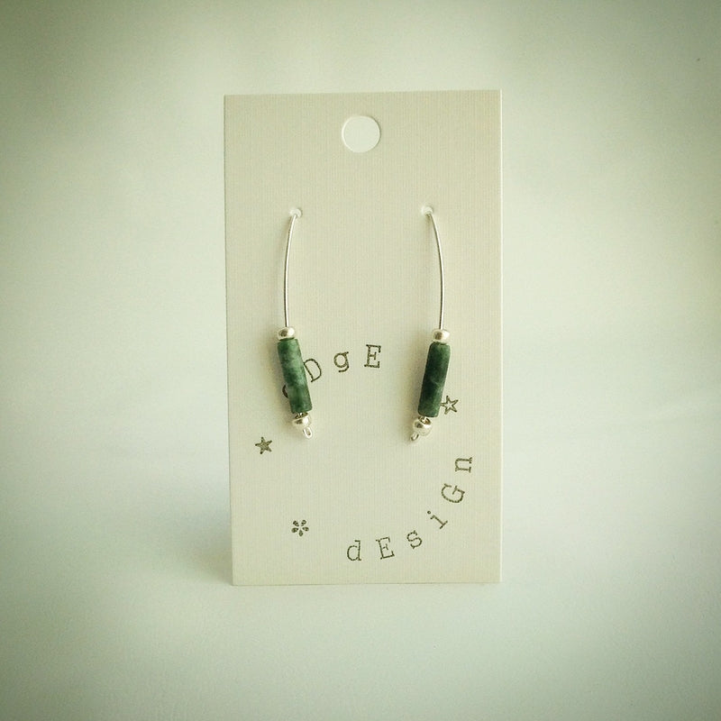 Jade Tube on Silver Plated Wire Balance Earrings - eDgE dEsiGn London