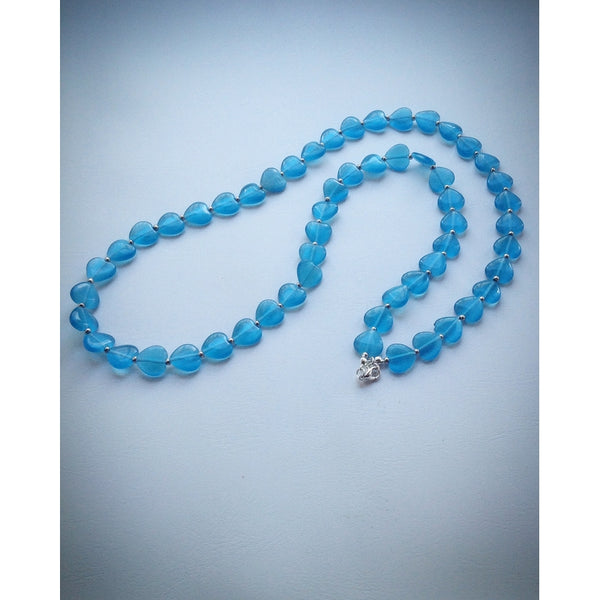 Beautiful Beaded Necklace - Turquoise Hearts - eDgE dEsiGn London
