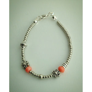 Beaded Bracelet - Silver, Coral, Flower - eDgE dEsiGn London