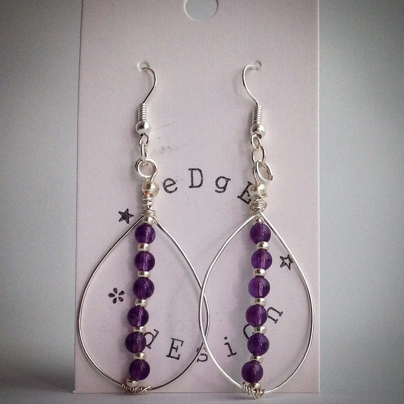 Amethyst Teardrop Earrings - silver plated - eDgE dEsiGn London