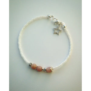 Beaded bracelet - White, Pink Quartz, Silver and Star - eDgE dEsiGn London