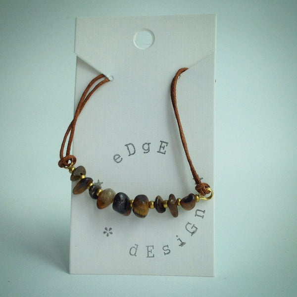 Brown Cord Bracelet - Tigers Eye and Gold Clasp - eDgE dEsiGn London