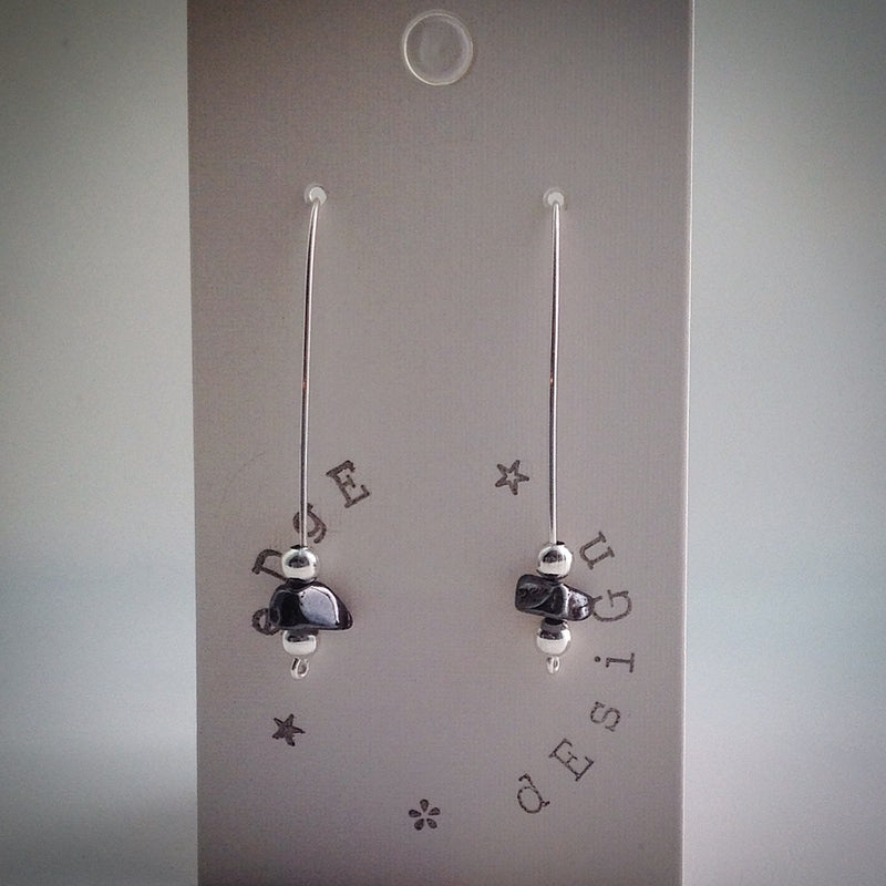 Silver plated single wire beaded earrings - eDgE dEsiGn London
