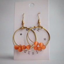Gold Plated Hoop Earrings - Tigers Eye - eDgE dEsiGn London