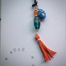 Pendant - Blue glass, orange tigers eye, turquoise bead and orange tassel - eDgE dEsiGn London