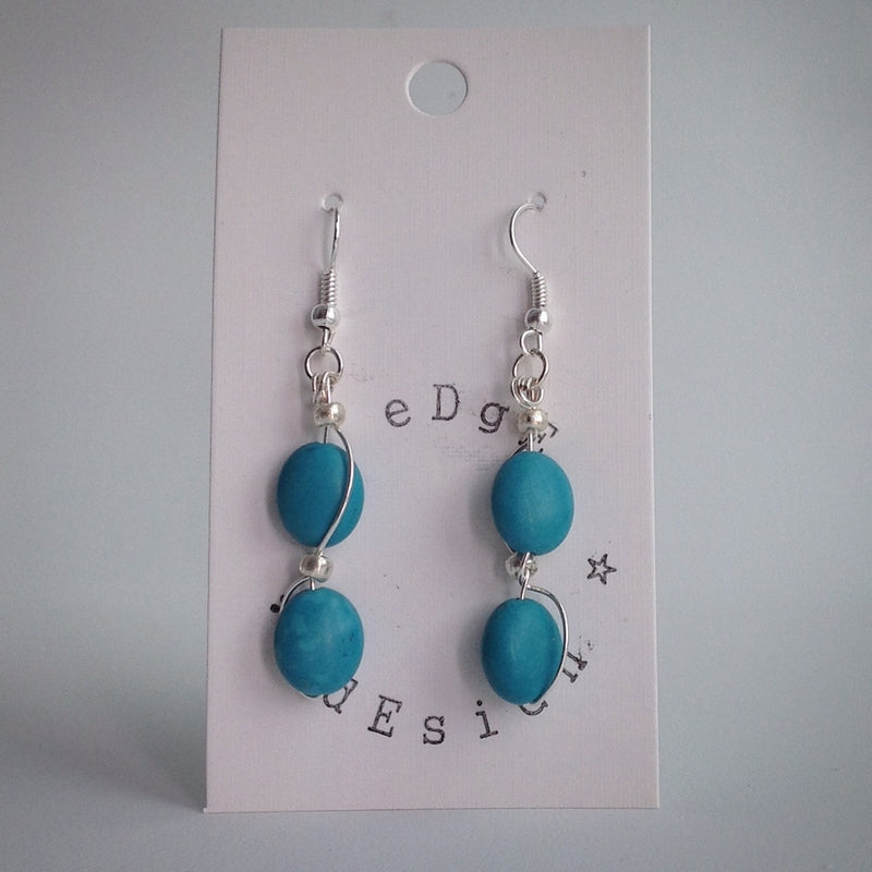 Turquoise Oval Bead Earrings - Silver Plated - eDgE dEsiGn London