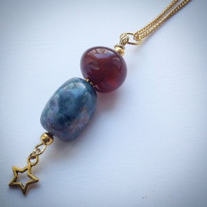Necklace with Jasper, Carnelian and Gold Star Pendant - eDgE dEsiGn London
