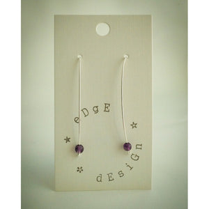 Amethyst Wire Balance Earrings - silver plated - eDgE dEsiGn London