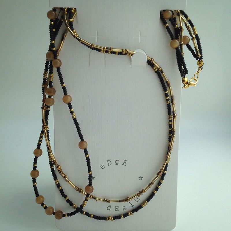 Beaded Necklace - Triple strand with black, gold, bronze and Tigers Eye beads - eDgE dEsiGn London