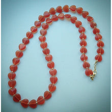 Beautiful Beaded Necklace - Orange/Red Hearts - eDgE dEsiGn London