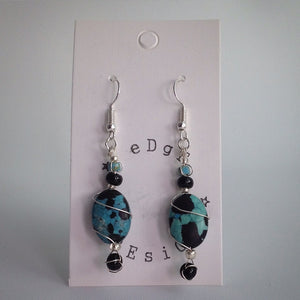 Silver plated drop earrings - Wire wrap turquoise and black beads - eDgE dEsiGn London