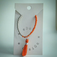 Beaded Bracelet with Orange and Silver Beads and Orange Tassel - eDgE dEsiGn London