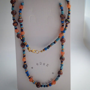 Beaded Necklace - Orange Tigers Eye, Millefiori, Turquoise and Navy - eDgE dEsiGn London