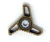 Tri-Hurricane Fidget Spinner, Brass, Stonewashed