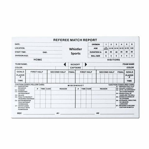 Referee Score Sheets with Codes