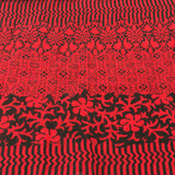 Deep Red and Black Floral Cotton Scarf - Asha Handicrafts