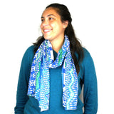 White and Blue Ikat Cotton Scarf - Asha Handicrafts