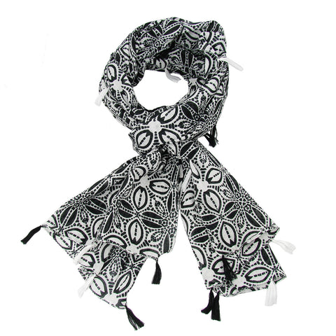 Black and White Symmetry Scarf with Tassels Handmade and Fair Trade