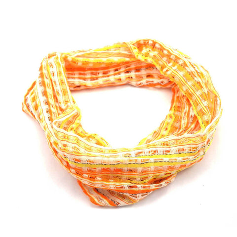 San Antonio Infinity Open Weave Scarf Yellow/Orange - Lucias Imports
