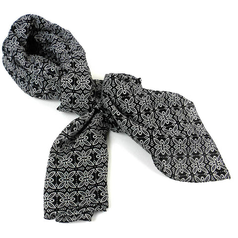 Black and White Floral Cotton Scarf - Asha Handicrafts