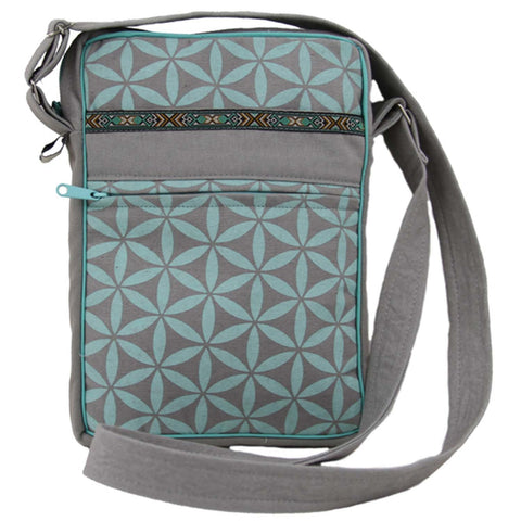 Flower of Life Festival Bag Grey/Turquoise - Global Groove (B)