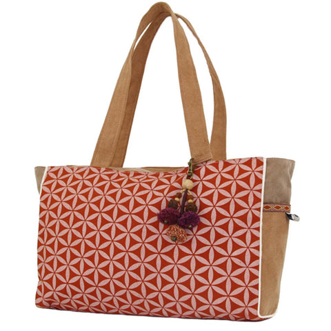 Flower of Life Every Day Bag Terracotta/Cream - Global Groove (B)