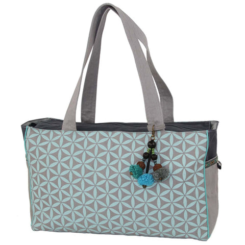 Flower of Life Every Day Bag Grey/Turquoise - Global Groove (B)