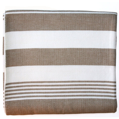 Cocoa Stripes Cotton Beach Throw - Sustainable Threads (L)