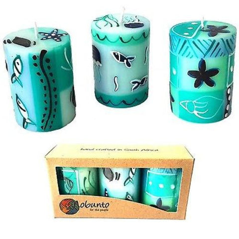 Set of Three Boxed Hand-Painted Candles - Samaki Design Handmade and Fair Trade
