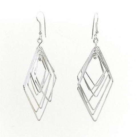 Large Silverplated Seven Rhombi Earrings Handmade and Fair Trade