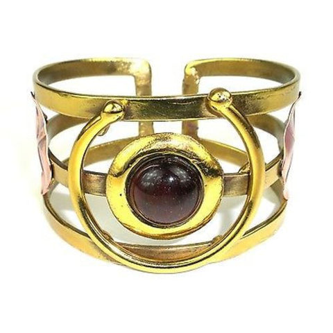 "Earthy Red Tiger Eye ""C"" Brass Cuff Handmade and Fair Trade"