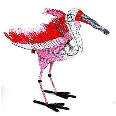 Handmade Life-Size Beaded Roseate Spoonbill Handmade and Fair Trade