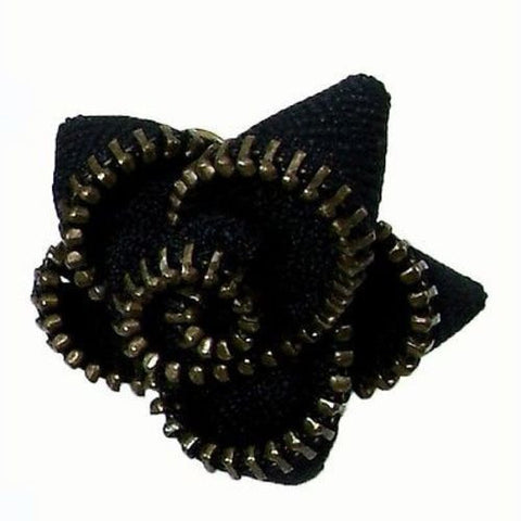 Zipper Flower Ring in Black Handmade and Fair Trade