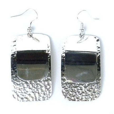 Large Silverplated Double Rectangle Earrings Handmade and Fair Trade