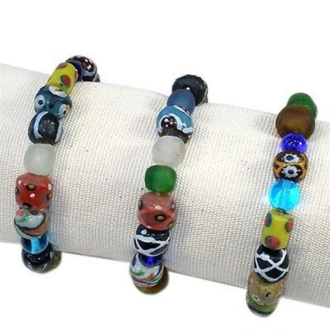 Hand Painted Glass Bead Bracelet - Kenya