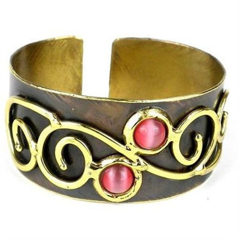 Pink Tiger Eye and Scroll Brass Cuff Handmade and Fair Trade